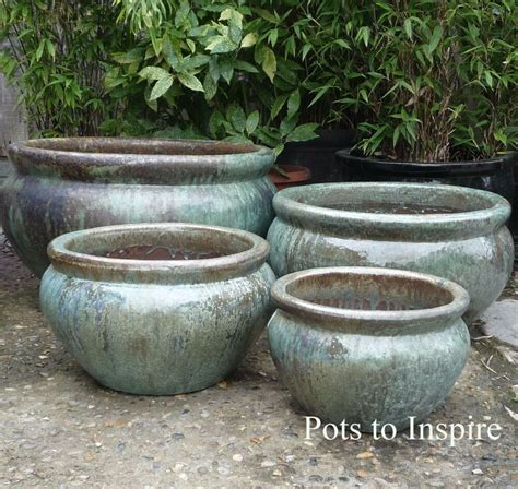 Large Garden Planters And Pots by Large Opal Green Glazed Low Bowl Planters Garden Pot