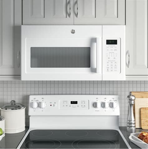 over the range microwave no cabinet ge jvm6175dkww 1 7 cu ft over the range microwave with
