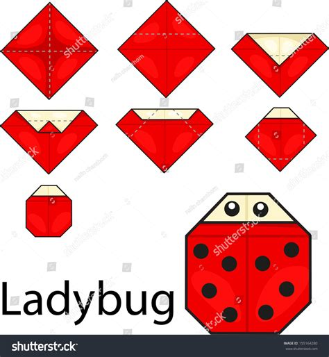 How To Make Paper Ladybugs - illustrator of origami with ladybug stock vector