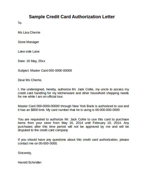 Letter To Credit Card Account Template by Credit Card Authorization Letter 10 Documents