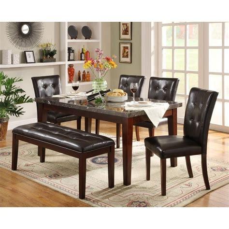 metropolitan 6 piece dining set with bench espresso trent home decatur 6 piece dining table set in espresso