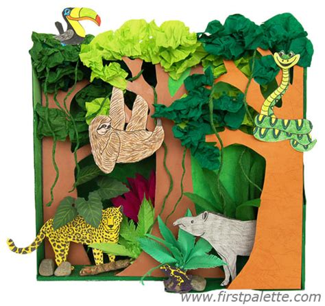 How To Make Rainforest Animals Out Of Paper - rainforest habitat diorama craft crafts