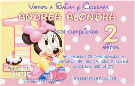 imagenes feliz cumpleaños numero 18 para hi5 invitaci 243 n baby minnie disney