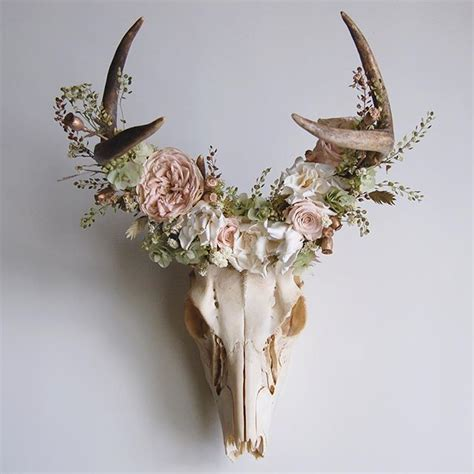 Preserved Flower Black Real Best Choice To Decorate Room deer skull with preserved floral crown available in shop link in profile mingled within the