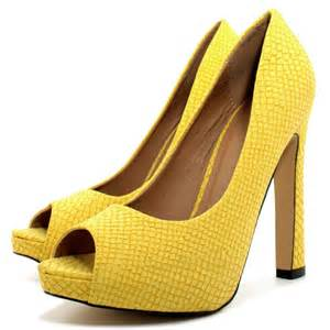 Shoes Yellow Buy Croc Curved Heel Concealed Platform Peep Toe Court