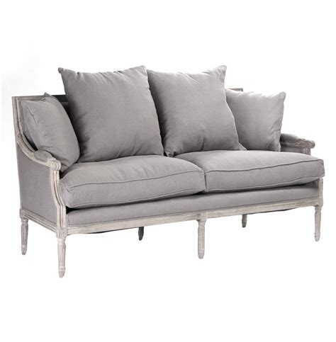 gray linen sofa st germain french country limed oak louis xvi grey linen