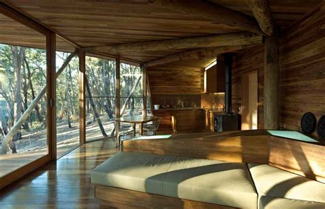 modern log home interiors trunk house australian rural property central highlands weekender e architect