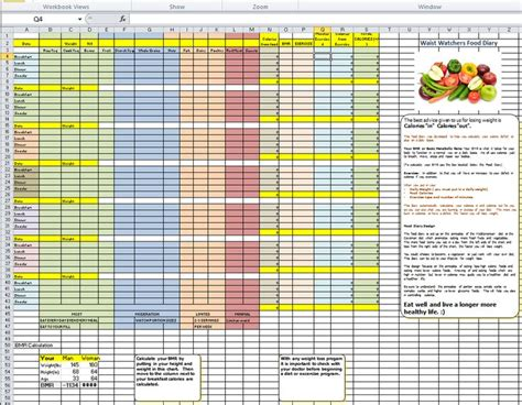 a weight management plan is based on quot waist quot watchers diet plan simplified spreadsheet based