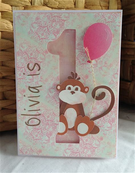 Handmade 1st Birthday Gifts - handmade personalised 1st birthday card monkey
