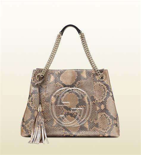 Gucci Python Bag by Lyst Gucci Soho Metallic Python Shoulder Bag In Brown