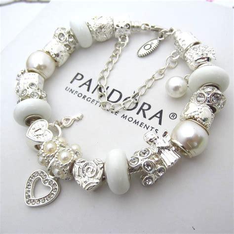 Charm Pandora authentic pandora sterling silver bracelet with white pearlescent charms pandorabracelet