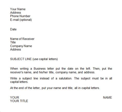 Business Letter Format Using Re business letters format 15 free documents in