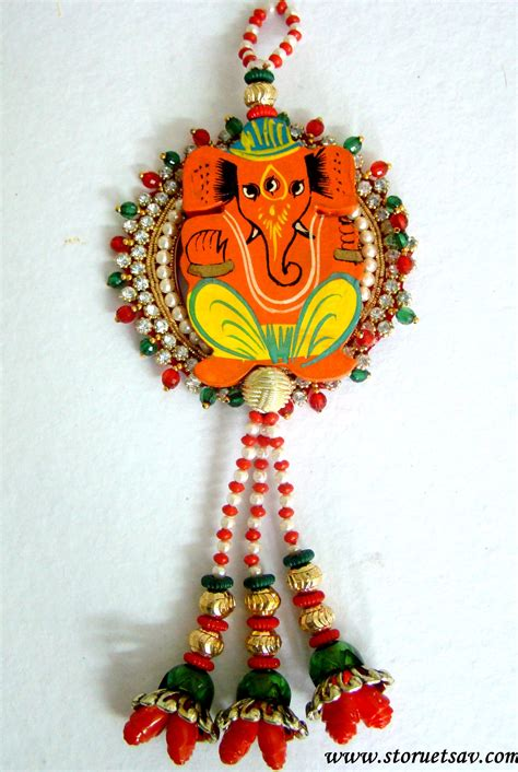 home decor hanging beads rajasthani door wall hanging wooden lord ganesha on