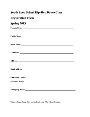 dance application form sle fill online printable