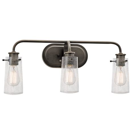 Kichler Bathroom Lighting Kichler 45459oz Braelyn Vintage Olde Bronze Finish 24 Quot Wide 3 Light Bathroom Sconce Kic 45459oz