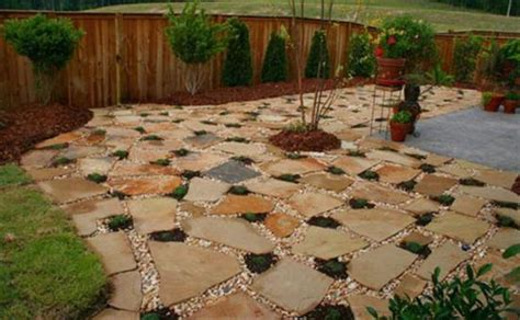 Stone Patio Design Landscaping With Pea Gravel Flagstone Backyard Patio Ideas Cheap