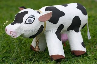 How To Make A Paper Mache Cow - inna s creations make a papier mache cow using an empty