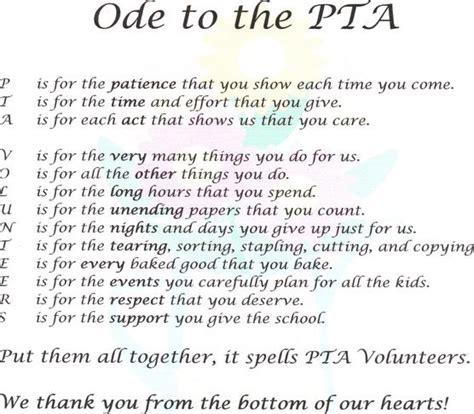 thank you letter to parents from pta ode to the pta jpg pta and school