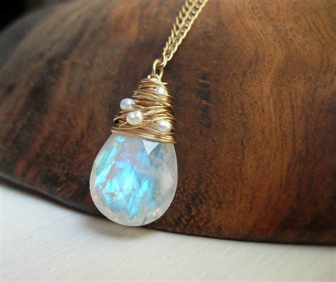 moonstone necklace with freshwater pearls by hickey
