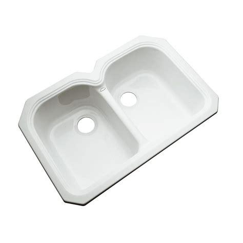 white undermount kitchen sink thermocast hartford undermount acrylic 33 in double bowl