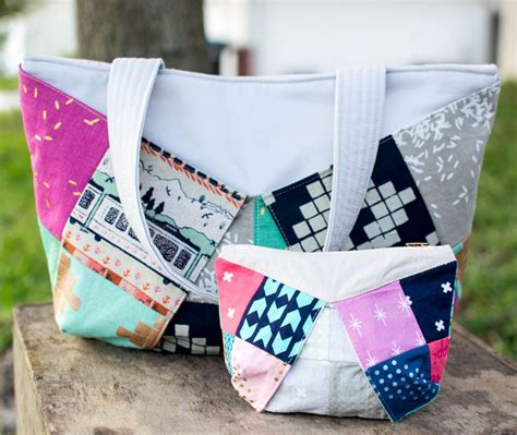 Three More Inspiring Patchwork Projects Sewcanshe Free - show saturday patchwork tote and zipper pouch duo