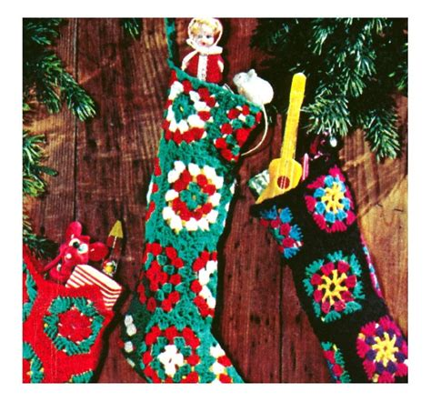 pattern for granny square christmas stocking vintage crochet pattern christmas stocking granny squares
