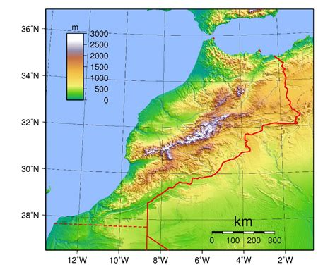 physical map of morocco maps of morocco detailed map of morocco in