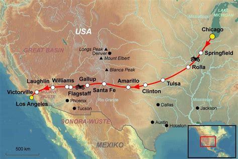 Route 66 Usa Mit Dem Motorrad stepmap karte usa rundreise mit dem motorrad auf der route