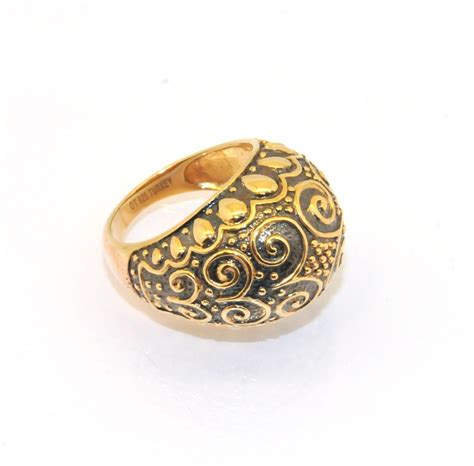 oxidized technibond domed ring 14k yellow gold clad
