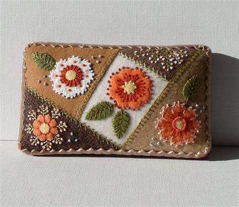 Handmade Needle - handmade needle cushion felted wool autumn flower garden pin