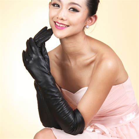 Women Long Black Leather Gloves Collection 2018 7