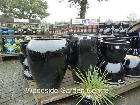 Large Black Outdoor Pots Large Black Glazed Noodle Pot Planter Woodside