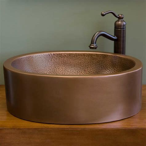 vessel tub kyah oval wall hammered copper vessel sink