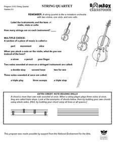 printable music lesson plans instruments of the orchestra string quartet instruments 3rd 4th grade worksheet