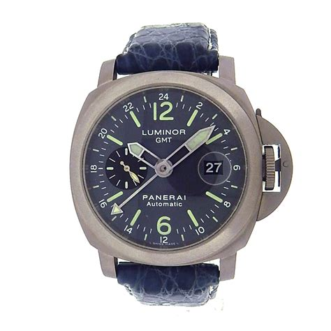 Luminor Panerai Gmt Leather panerai luminor gmt pam00089 titanium blue leather