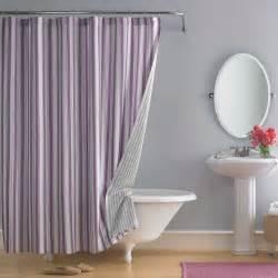fashioned bathroom design with purple white striped