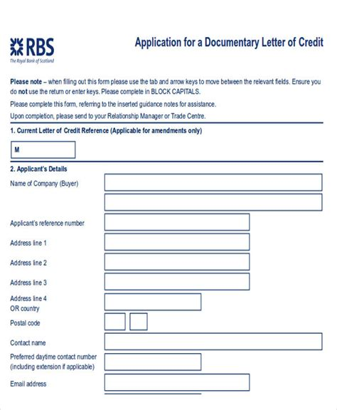 Rbs Letter Of Credit Letter Of Credit Sle 9 Exles In Word Pdf