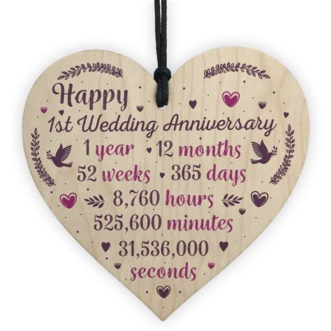 handmade wood heart plaque st wedding anniversary gift
