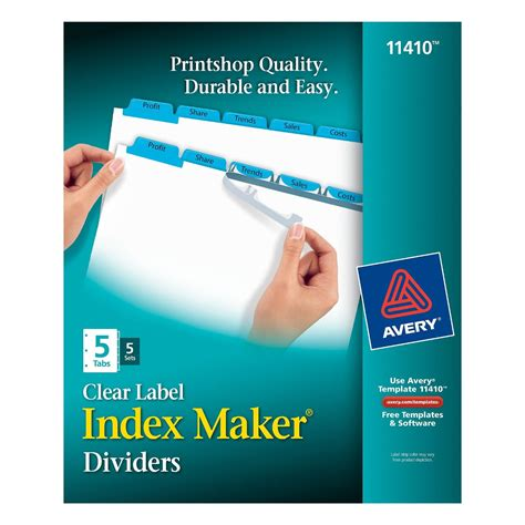 Avery Index Maker Clear Label Dividers Easy Apply Label Strip 5 Tab Blue Easy Apply Label Strips Template 5 Tab