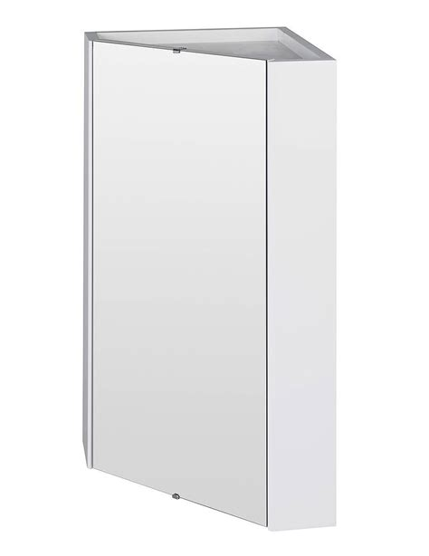 Corner Bathroom Furniture High Gloss White Wall Mounted Corner Mirror Cabinet