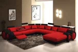 pin modern red and black bonded leather sectional sofa with recliners sku on pinterest