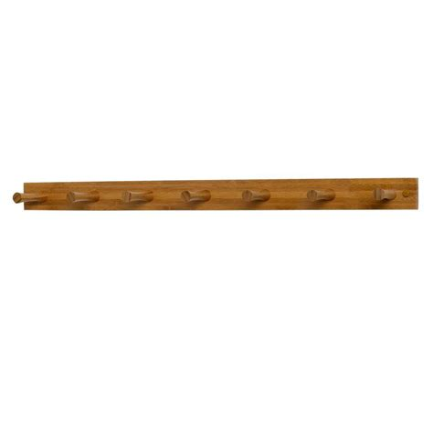 Peg Wood Rack by Spectrum 24 In L Decorative Bamboo 7 Peg Wall Mount Wood
