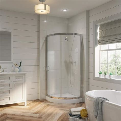 Corner Bathroom Shower Shop Ove Decors Chrome Acrylic Floor 2 Corner Shower Kit Actual 76 In X 31