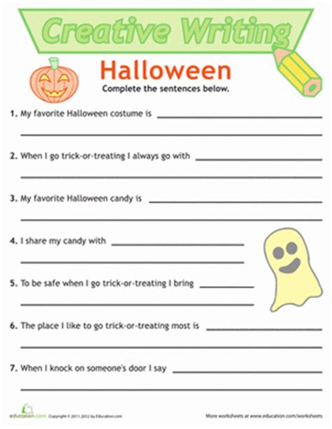 halloween writing themes 1st grade writing worksheets free printables education com