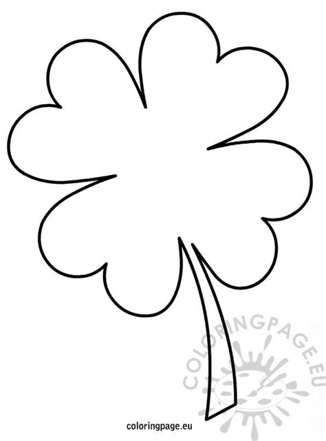 four leaf clover template coloring page