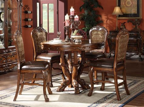adrienne 5pc dining room table set traditional elegant acme dresden 5 pc round counter height dining table set in