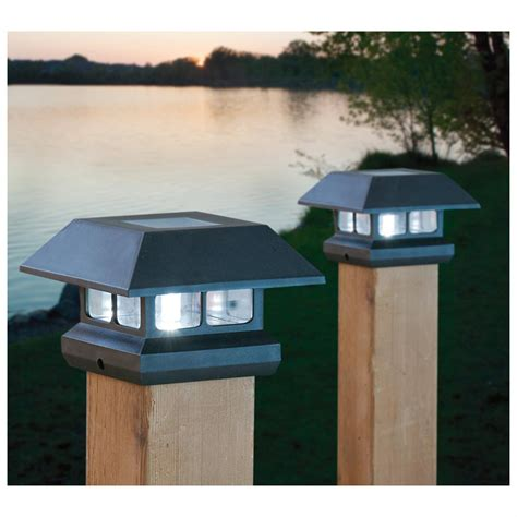 Outdoor Deck Post Lighting Castlecreek Solar Deck Post Cap Lights 2 Pack 233713 Solar Outdoor Lighting At Sportsman S