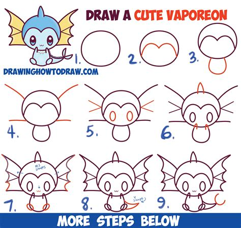 how to draw a step by step easy how to draw kawaii chibi vaporeon from easy step by step drawing lesson
