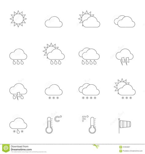 eps format line weather icons line stock vector image 61855867