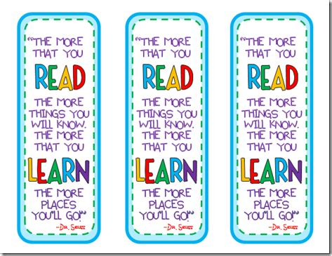 printable school bookmarks dr seuss quote bookmarks dr seuss pinterest